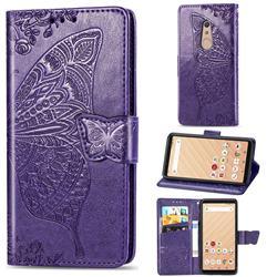Embossing Mandala Flower Butterfly Leather Wallet Case for FUJITSU Docomo Arrows Be4 F-41A - Dark Purple