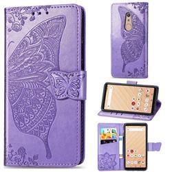 Embossing Mandala Flower Butterfly Leather Wallet Case for FUJITSU Docomo Arrows Be4 F-41A - Light Purple