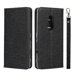Ultra Slim Magnetic Automatic Suction Silk Lanyard Leather Flip Cover for FUJITSU Docomo Arrows Be4 F-41A - Black