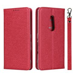 Ultra Slim Magnetic Automatic Suction Silk Lanyard Leather Flip Cover for FUJITSU Docomo Arrows Be4 F-41A - Red