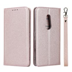 Ultra Slim Magnetic Automatic Suction Silk Lanyard Leather Flip Cover for FUJITSU Docomo Arrows Be4 F-41A - Rose Gold