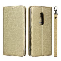Ultra Slim Magnetic Automatic Suction Silk Lanyard Leather Flip Cover for FUJITSU Docomo Arrows Be4 F-41A - Golden