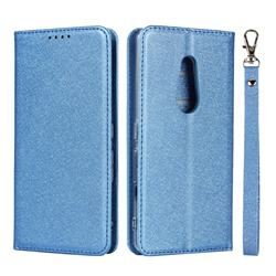 Ultra Slim Magnetic Automatic Suction Silk Lanyard Leather Flip Cover for FUJITSU Docomo Arrows Be4 F-41A - Sky Blue