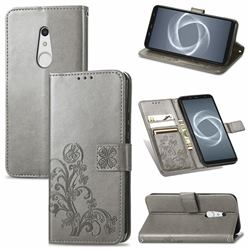 Embossing Imprint Four-Leaf Clover Leather Wallet Case for FUJITSU Docomo Arrows Be4 Plus F-41B - Grey