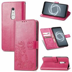 Embossing Imprint Four-Leaf Clover Leather Wallet Case for FUJITSU Docomo Arrows Be4 Plus F-41B - Rose Red
