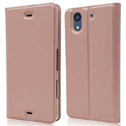 Ultra Slim Card Magnetic Automatic Suction Leather Wallet Case for Docomo Arrows NX F-01K - Rose Gold