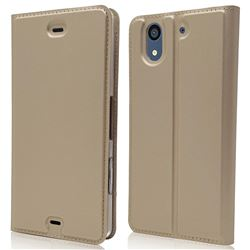 Ultra Slim Card Magnetic Automatic Suction Leather Wallet Case for Docomo Arrows NX F-01K - Champagne