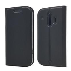Ultra Slim Card Magnetic Automatic Suction Leather Wallet Case for Docomo Raku-Raku Phone Me(F-01L) - Star Grey