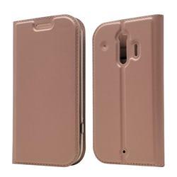 Ultra Slim Card Magnetic Automatic Suction Leather Wallet Case for Docomo Raku-Raku Phone Me(F-01L) - Rose Gold