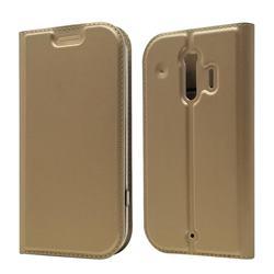 Ultra Slim Card Magnetic Automatic Suction Leather Wallet Case for Docomo Raku-Raku Phone Me(F-01L) - Champagne