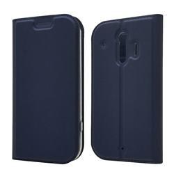 Ultra Slim Card Magnetic Automatic Suction Leather Wallet Case for Docomo Raku-Raku Phone Me(F-01L) - Royal Blue