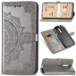 Embossing Imprint Mandala Flower Leather Wallet Case for Docomo Raku-Raku Phone Me(F-01L) - Gray