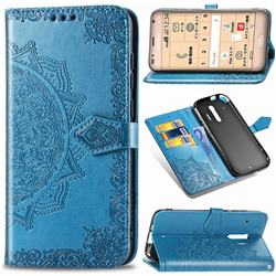 Embossing Imprint Mandala Flower Leather Wallet Case for Docomo Raku-Raku Phone Me(F-01L) - Blue