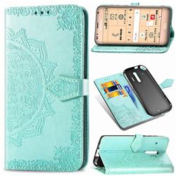 Embossing Imprint Mandala Flower Leather Wallet Case for Docomo Raku-Raku Phone Me(F-01L) - Green