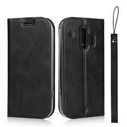 Calf Pattern Magnetic Automatic Suction Leather Wallet Case for Docomo Raku-Raku Phone Me(F-01L) - Black