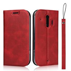 Calf Pattern Magnetic Automatic Suction Leather Wallet Case for Docomo Raku-Raku Phone Me(F-01L) - Red