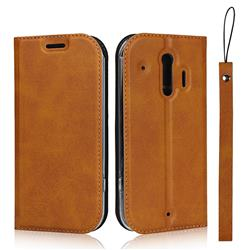 Calf Pattern Magnetic Automatic Suction Leather Wallet Case for Docomo Raku-Raku Phone Me(F-01L) - Brown
