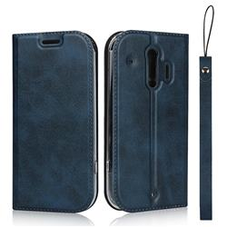 Calf Pattern Magnetic Automatic Suction Leather Wallet Case for Docomo Raku-Raku Phone Me(F-01L) - Blue