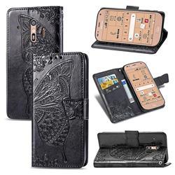 Embossing Mandala Flower Butterfly Leather Wallet Case for Docomo Raku-Raku Phone Me(F-01L) - Black