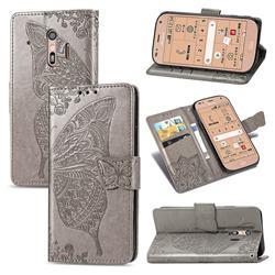 Embossing Mandala Flower Butterfly Leather Wallet Case for Docomo Raku-Raku Phone Me(F-01L) - Gray