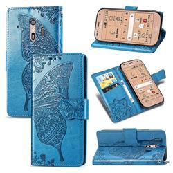Embossing Mandala Flower Butterfly Leather Wallet Case for Docomo Raku-Raku Phone Me(F-01L) - Blue