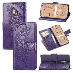 Embossing Mandala Flower Butterfly Leather Wallet Case for Docomo Raku-Raku Phone Me(F-01L) - Dark Purple
