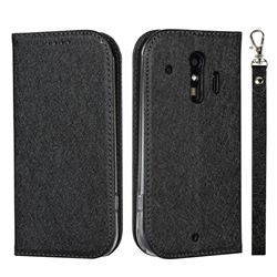 Ultra Slim Magnetic Automatic Suction Silk Lanyard Leather Flip Cover for Docomo Raku-Raku Phone Me(F-01L) - Black