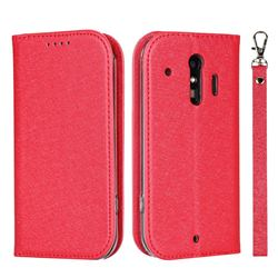 Ultra Slim Magnetic Automatic Suction Silk Lanyard Leather Flip Cover for Docomo Raku-Raku Phone Me(F-01L) - Red