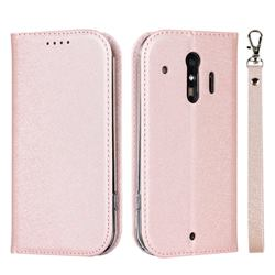 Ultra Slim Magnetic Automatic Suction Silk Lanyard Leather Flip Cover for Docomo Raku-Raku Phone Me(F-01L) - Rose Gold