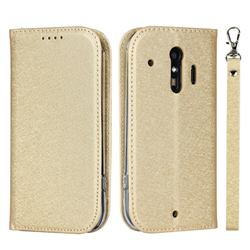 Ultra Slim Magnetic Automatic Suction Silk Lanyard Leather Flip Cover for Docomo Raku-Raku Phone Me(F-01L) - Golden