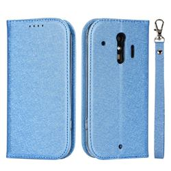 Ultra Slim Magnetic Automatic Suction Silk Lanyard Leather Flip Cover for Docomo Raku-Raku Phone Me(F-01L) - Sky Blue