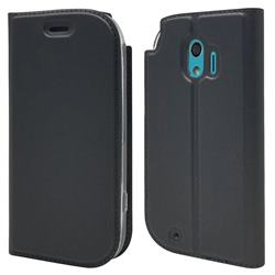 Ultra Slim Card Magnetic Automatic Suction Leather Wallet Case for Docomo Easy Smartphone me (F-03K) - Star Grey