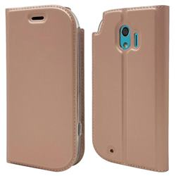 Ultra Slim Card Magnetic Automatic Suction Leather Wallet Case for Docomo Easy Smartphone me (F-03K) - Rose Gold