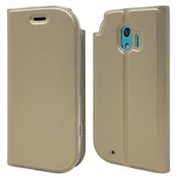 Ultra Slim Card Magnetic Automatic Suction Leather Wallet Case for Docomo Easy Smartphone me (F-03K) - Champagne