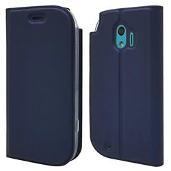 Ultra Slim Card Magnetic Automatic Suction Leather Wallet Case for Docomo Easy Smartphone me (F-03K) - Royal Blue