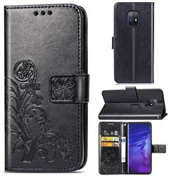 Embossing Imprint Four-Leaf Clover Leather Wallet Case for FUJITSU Docomo Arrows 5G F-51A - Black