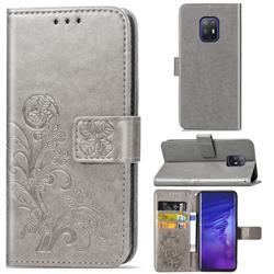 Embossing Imprint Four-Leaf Clover Leather Wallet Case for FUJITSU Docomo Arrows 5G F-51A - Grey