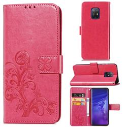 Embossing Imprint Four-Leaf Clover Leather Wallet Case for FUJITSU Docomo Arrows 5G F-51A - Rose Red