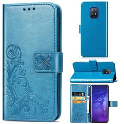 Embossing Imprint Four-Leaf Clover Leather Wallet Case for FUJITSU Docomo Arrows 5G F-51A - Blue