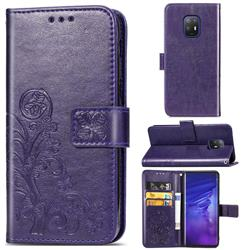 Embossing Imprint Four-Leaf Clover Leather Wallet Case for FUJITSU Docomo Arrows 5G F-51A - Purple