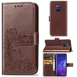 Embossing Imprint Four-Leaf Clover Leather Wallet Case for FUJITSU Docomo Arrows 5G F-51A - Brown