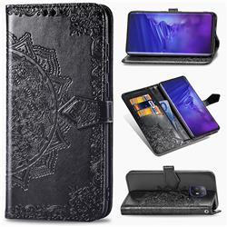 Embossing Imprint Mandala Flower Leather Wallet Case for FUJITSU Docomo Arrows 5G F-51A - Black