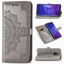 Embossing Imprint Mandala Flower Leather Wallet Case for FUJITSU Docomo Arrows 5G F-51A - Gray