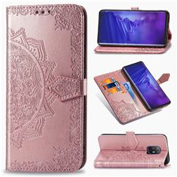 Embossing Imprint Mandala Flower Leather Wallet Case for FUJITSU Docomo Arrows 5G F-51A - Rose Gold