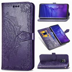 Embossing Imprint Mandala Flower Leather Wallet Case for FUJITSU Docomo Arrows 5G F-51A - Purple