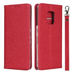 Ultra Slim Magnetic Automatic Suction Silk Lanyard Leather Flip Cover for FUJITSU Docomo Arrows 5G F-51A - Red