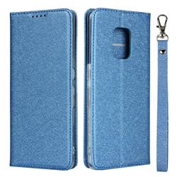Ultra Slim Magnetic Automatic Suction Silk Lanyard Leather Flip Cover for FUJITSU Docomo Arrows 5G F-51A - Sky Blue