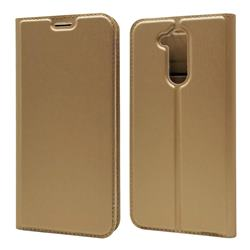 Ultra Slim Card Magnetic Automatic Suction Leather Wallet Case for Docomo LG style2 L-01L (6.0 inch) - Champagne