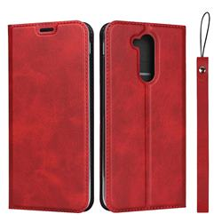 Calf Pattern Magnetic Automatic Suction Leather Wallet Case for Docomo LG style2 L-01L (6.0 inch) - Red