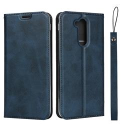 Calf Pattern Magnetic Automatic Suction Leather Wallet Case for Docomo LG style2 L-01L (6.0 inch) - Blue
